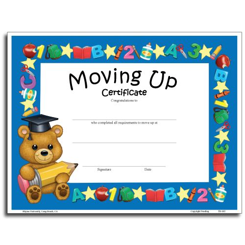 Preschool Moving Up Certificates
