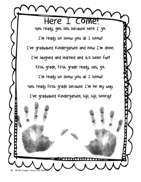 First Grade Here I Come Poem (add Handprints)