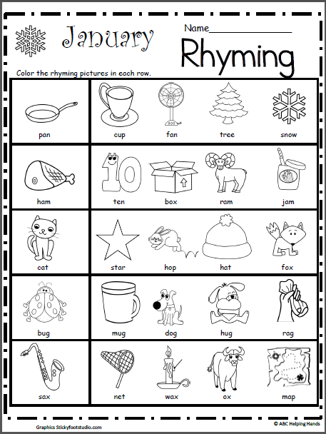 Rhyming Worksheet For January