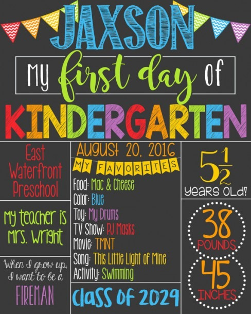 First Day Of School Chalkboard Poster First By Personalizedchalk