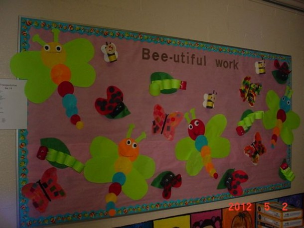 Preschoolers Decorated The Bulletin Board With Insects And Bugs