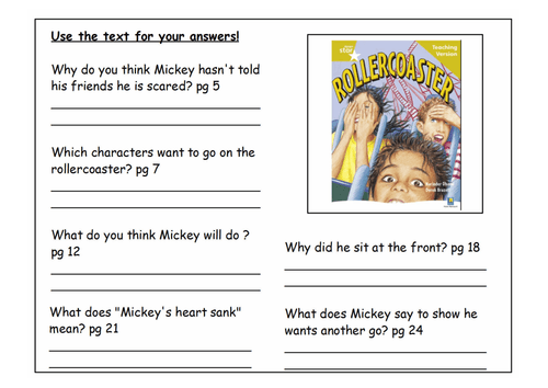 Comprehension Sheets For Guided Reading Based On Rigby Star