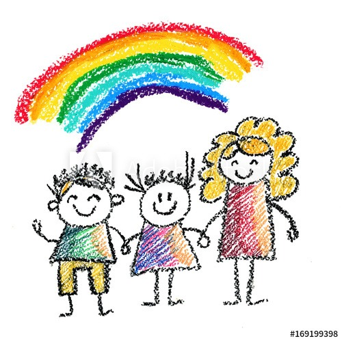 Children With Teacher Or Mother Kids Drawing Illustration For