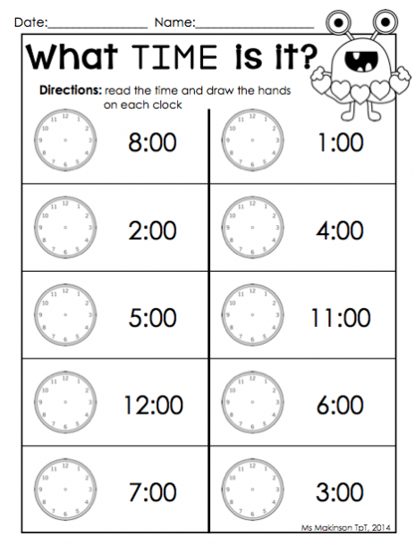 Time Clock For Kindergarten