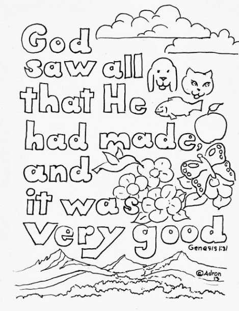 Coloring Pages For Kids By Mr  Adron  Genesis 1 31 Print And Color