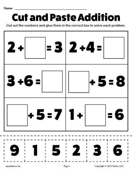 Free Printable Cut And Paste Addition Worksheet