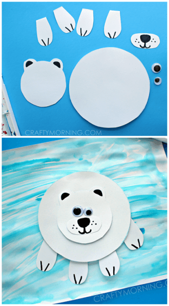 These Cute Polar Bears Combine Cutting Skills, Drawing And