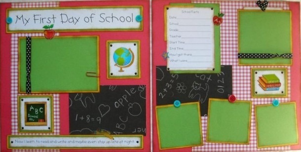 My First Day Of School Boy Girl 12x12 Premade Scrapbook Pages