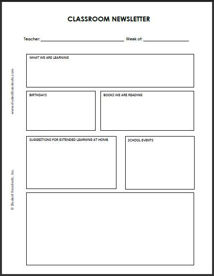 Blank Classroom Newsletter Template Free Printable Newsletter