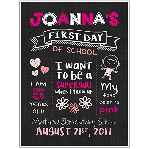 Amazon Com  First Day Of School Chalkboard Personalized Sign Photo