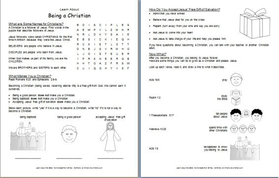 What Is A Christian  Printable Bible Worksheet For Kids