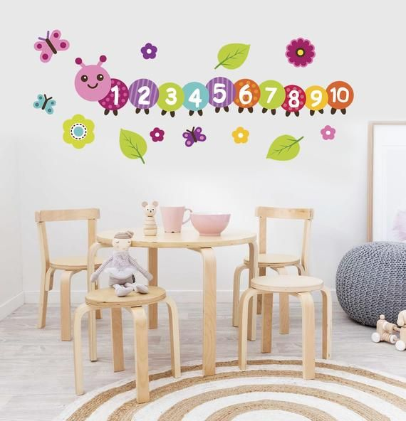 Counting Caterpillar Decal, Preschool Classroom Decor, Learning