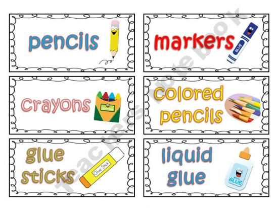 Classroom Supply Labels For Primary Teachers With Picture Clues