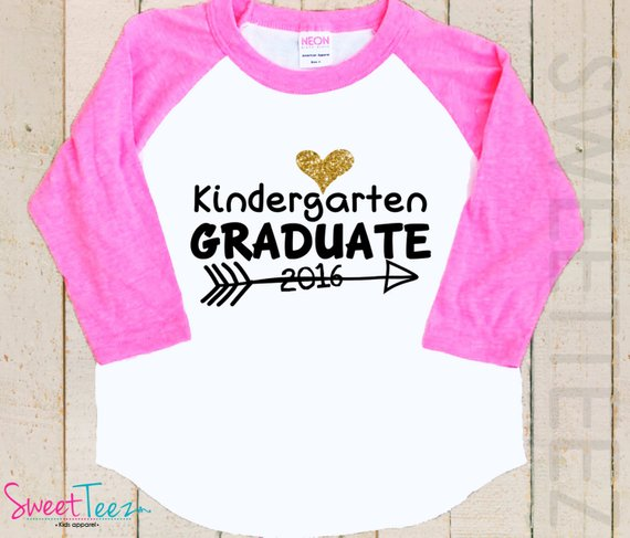 Kindergarten Graduation Shirt Gold Glitter Heart Shirt Arrow
