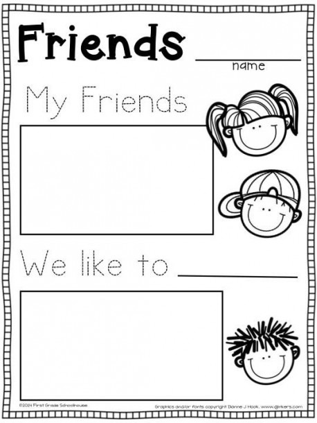 Back To School Kindergarten Writing About Friends Activity