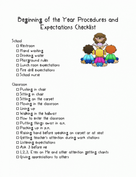 Beginning Of The Year Procedures And Expectations Checklist