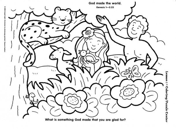 Preschool Creation Coloring Page