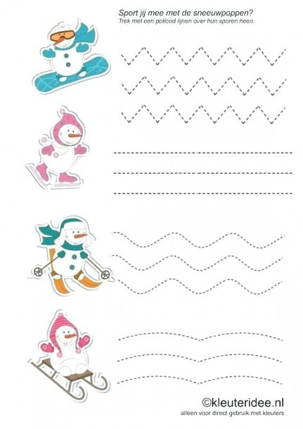 And Worksheets For And Kindergarten Free Winter Trace Line