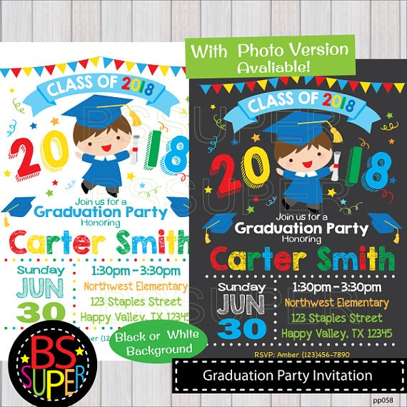 Graduation Invitation, Kindergarten Graduation Invite, Preschool