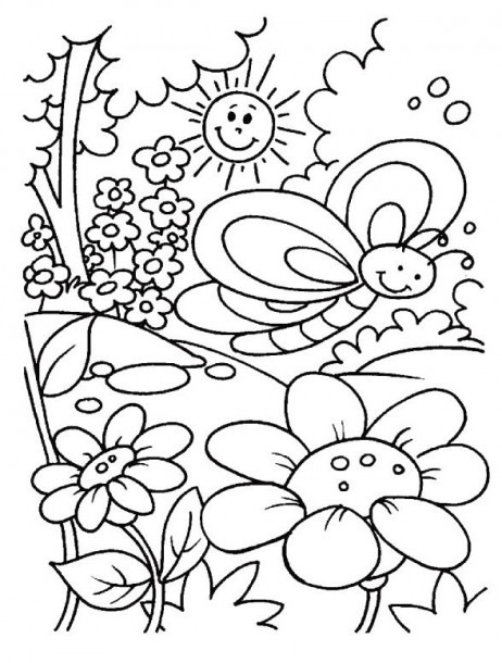 Spring Day Coloring For Kids