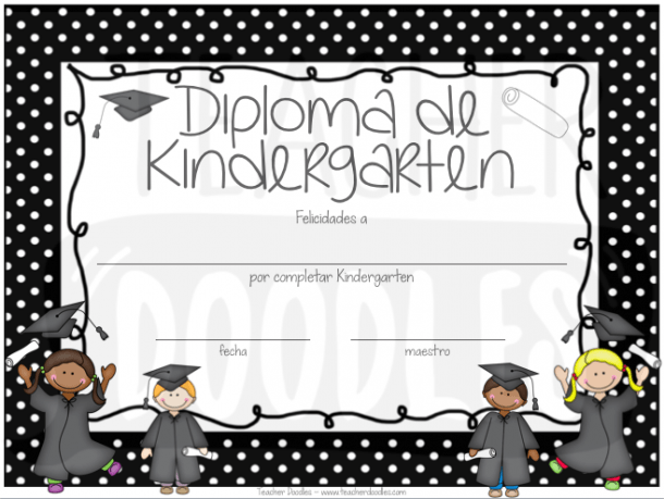 Polka Dot Kindergarten Diploma Option1