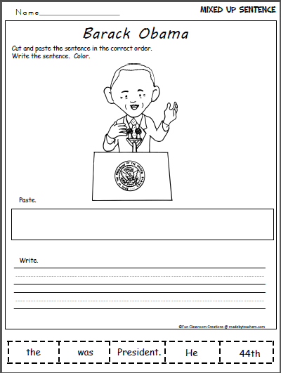 Barack Obama 44th President Worksheet