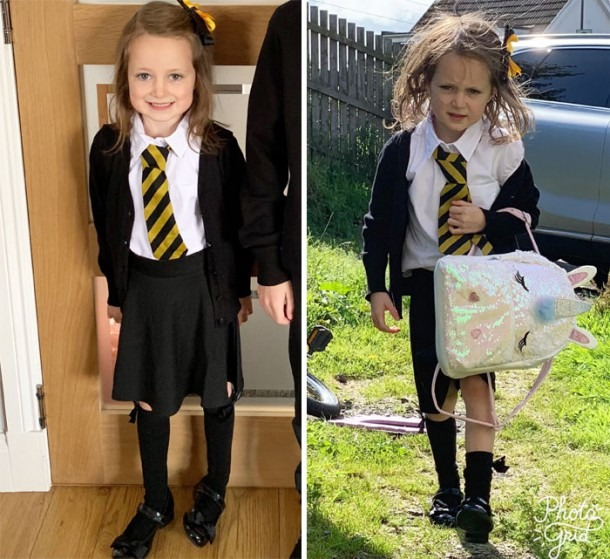 27 Hilarious Pics Of Kids Before & After Their First Day Of School