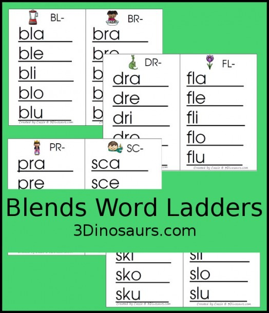 Free Blends Word Ladders  Beginning Sounds