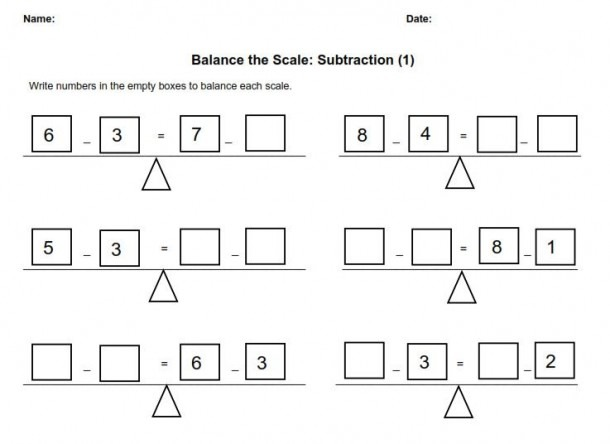 Balance The Scale  Subtraction