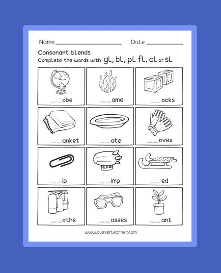 Consonant Blend Sounds With Letter 'l' Free Preschool Worksheets