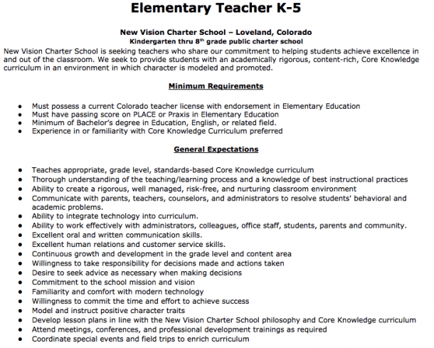 Elementary Teacher Job Description Elementary Teacher K