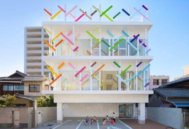 Colorful  Branches  Cover This New Kindergarten Building In Japan