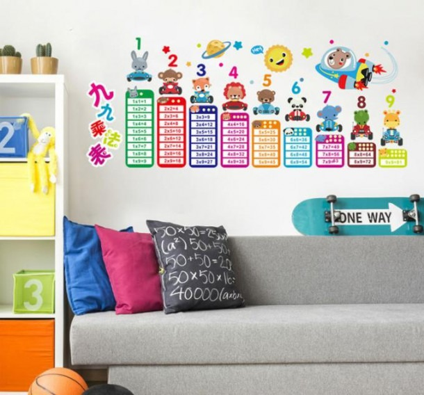 Colors Multiplication Table Pvc Wall Stickers Home Kindergarten