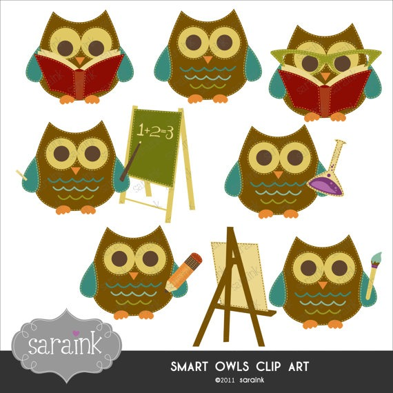 Smart Owls Scholarly Clipart Download