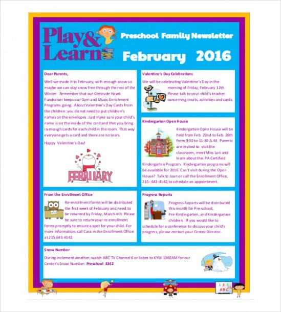 10+ Preschool Newsletter Templates – Free Sample, Example, Format