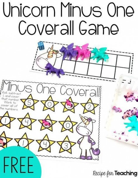 Free Unicorn Subtraction Game For Kindergarten  Roll And Subtract