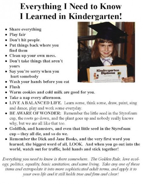 Everything I Need To Know, I Learned In Kindergarten  Sadly A Lot