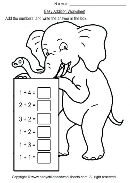 Easy Addition Worksheets Kindergarten