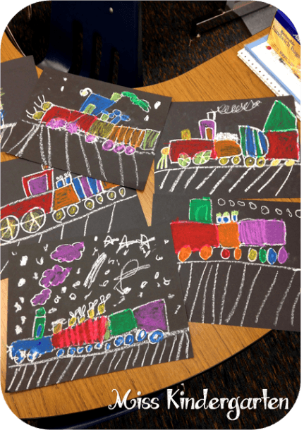 Polar Express Directed Drawing Using Pastels On Black Paper
