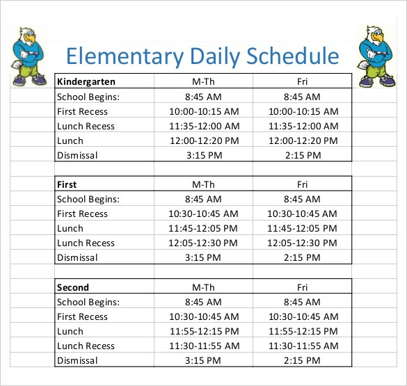 26 Images Of Elementary Daily Schedule Template