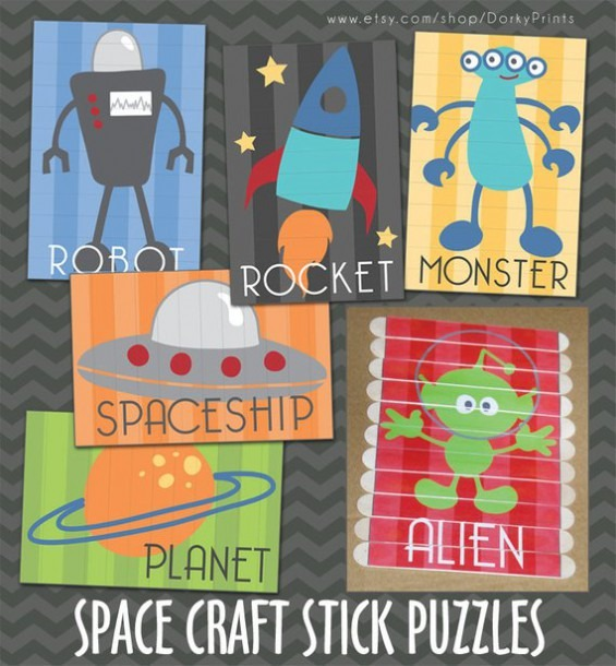 Outer Space Craft Stick Puzzles Pdf