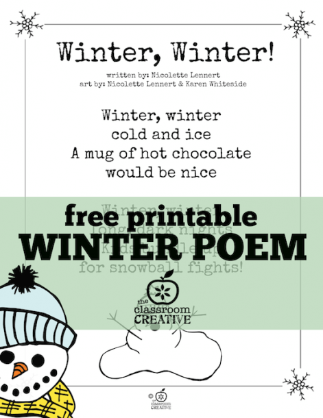 Free Printable Winter Poem For Kids! Every Time We Recite This One
