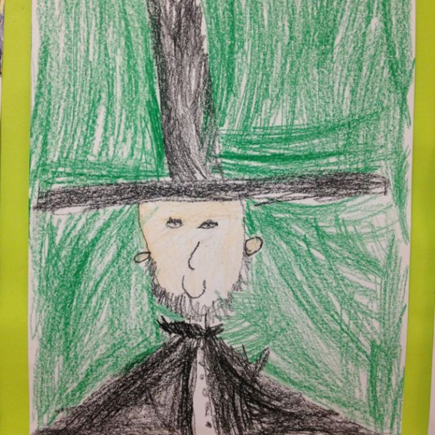 A Kindergarten Directed Drawing Of Abraham Lincoln  This Is One Of