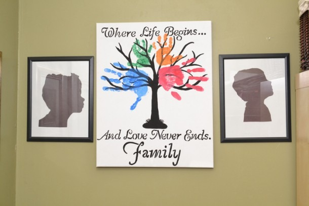Diy  Family Tree Wall Art & Kids Silhouette Picture