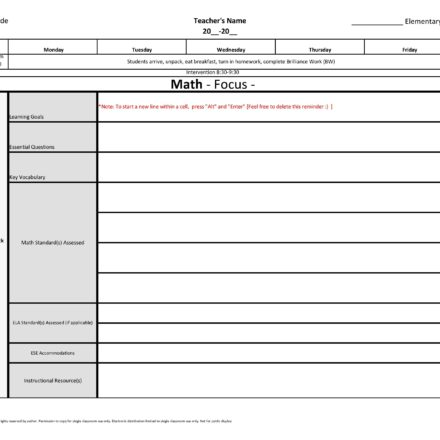 4th Fourth Grade Weekly Lesson Plan Template W  Florida Standards
