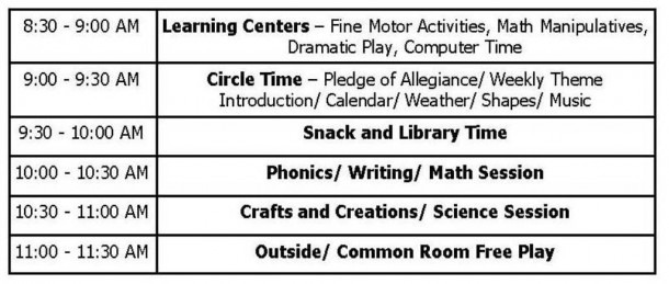 Class Schedules Weekly Themes School Calendar
