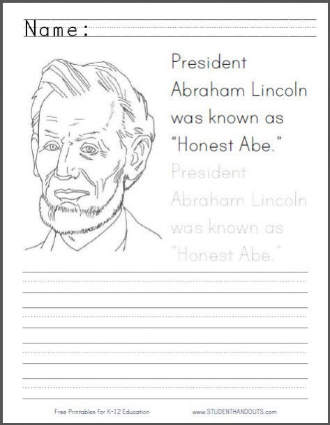 Honest Abe Coloring Page For Kids