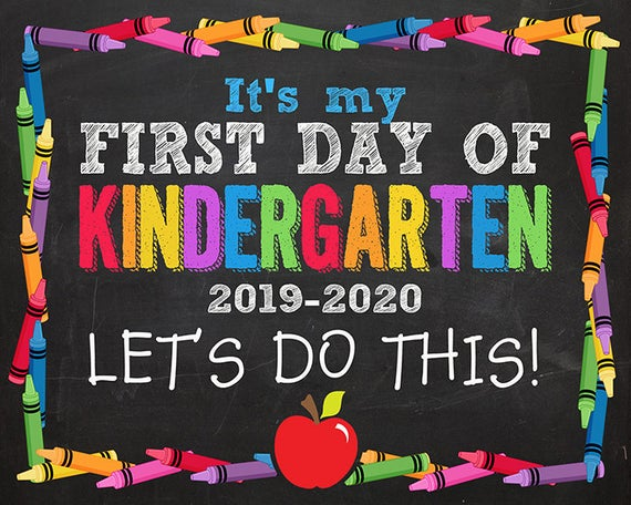 First Day Of Kindergarten Sign, First Day Of Kindergarten, First