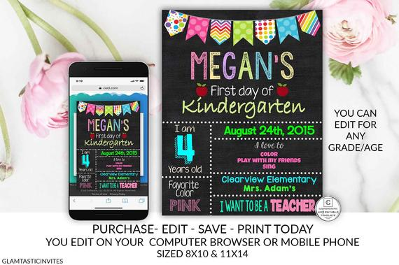 Editable First Day Of Kindergarten Sign Template First Day Of