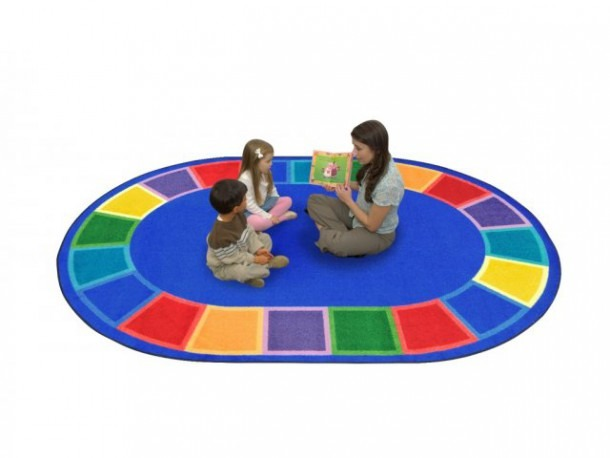 """Color Tones Oval Classroom Rug 5'4""""x7'8"""", Shapes & Solid Rugs"""